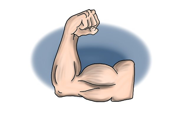 Strong man's arm denoting heavy duty HD