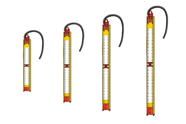 The scale of a gas test gauge is marked in millibars (mbar). Every 10mm on the scale represents 1mbar. For example, a 300mm long gas test gauge is able to measure pressures up to 30 mbar. Gauges are available in a number of different lengths from 300mm (12 inches) to 1200mm (48 inches) and are able to measure pressures up to 30 mbar, 60 mbar, 90 mbar or 120 mbar.
