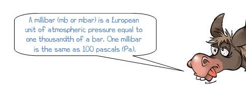 Wonkee Donkee says: 'A millibar (mb or mbar) is a European unit of atmopspheric pressure equal to one thousandth of a bar. One millibar is the same as 100 pascals (Pa).'