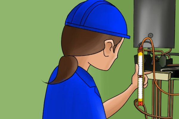 Gas test gauges rely on a gas acting against a fluid. When the gauge is connected to the gas appliance, the pressure of the gas inside in the appliance or pipework forces the fluid in the u-tube to travel up the scale.