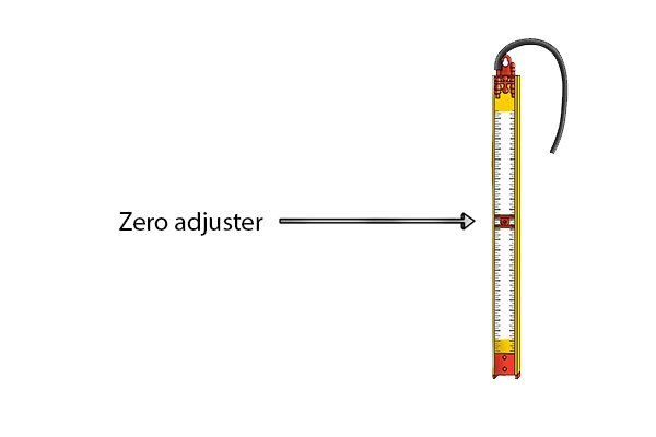 Step 3 Adjust the scale by sliding it up or down using the zero adjuster until the fluid levels on both legs of the tube are precisely aligned with the 0 graduation. Your gas test gauge is now ready to use.