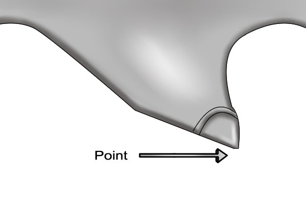 Point of a saw tooth