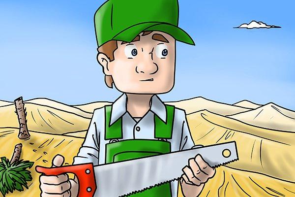 No battery power, man sawing stone