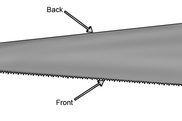 When viewed from the side, the bottom edge of the blade where the saw's teeth are, is called the front, and the opposite edge is called the back.