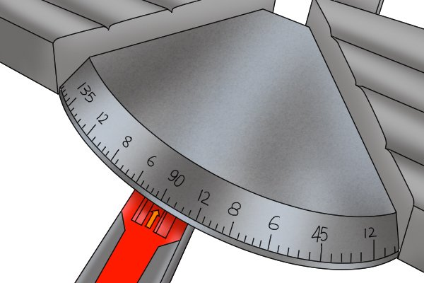 Variable angle selection, all hand mitre saws have an angle guide.