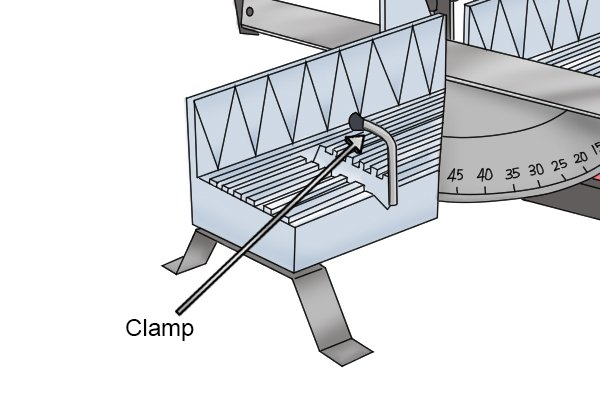 Clamp on a hand mitre saw