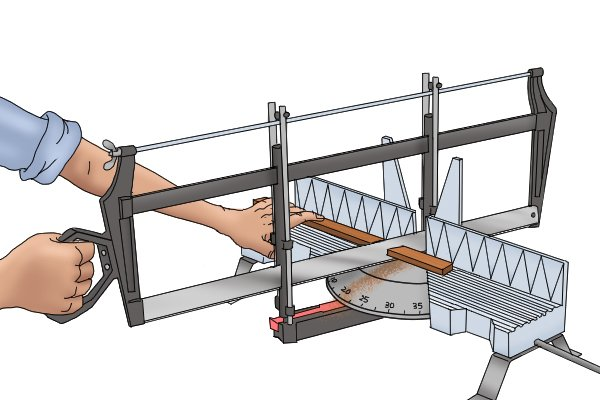 Person using hand mitre saw