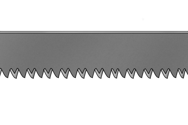 The teeth on most hand Mitre saw blades have three angled cutting edges instead of just two.