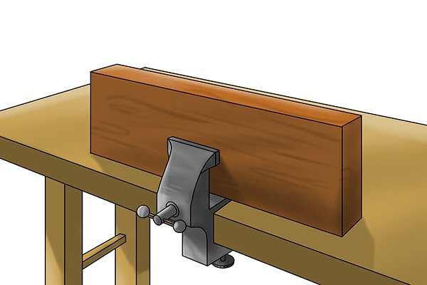 Secure your material with a clamp or vice
