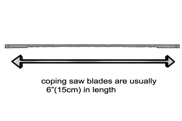 A coping saw has a thin blade which can be removed from the metal frame.