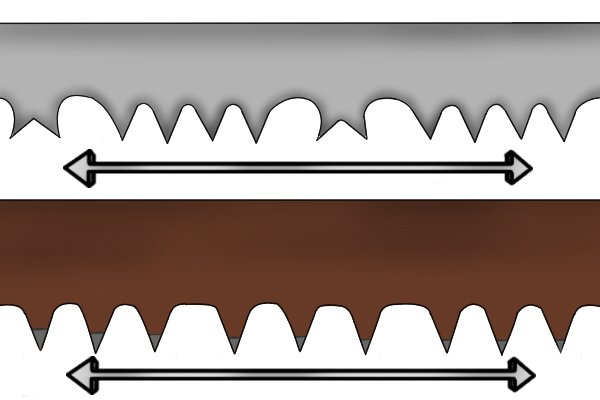 Peg tooth blades tend to have 6 to 8 teeth per inch. Peg and raker bow saw blades tend to have 4 to 6 teeth per inch.