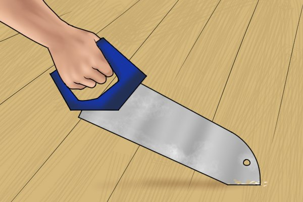 To start a cut using the nose, you should grip the handle with your dominant hand, and gently push the nose of the saw across the floorboard
