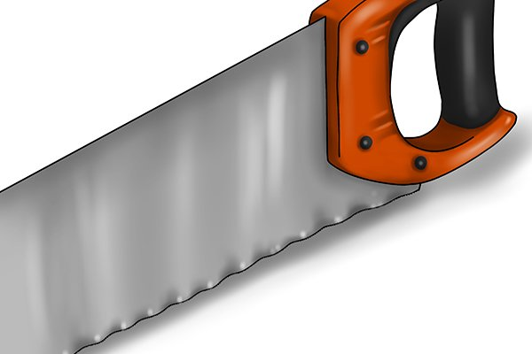The insulation saw has a wavy blade, sharpened at alternating angles, which serves to slice cleanly through insulation rather than tearing it.