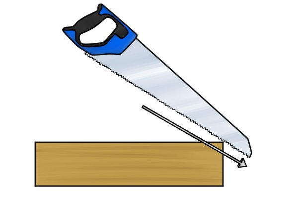 Begin by resting the nose of the blade on the material, at roughly a 45° angle to the work surface.
