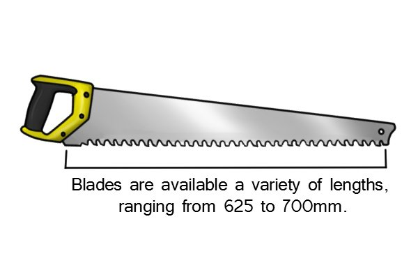 A masonry saw has a very large, long blade that comes in a variety of lenths from 625 mm to 700 mm