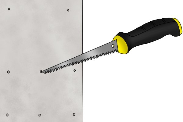 drywall saw. starting your cut with a drywall saw