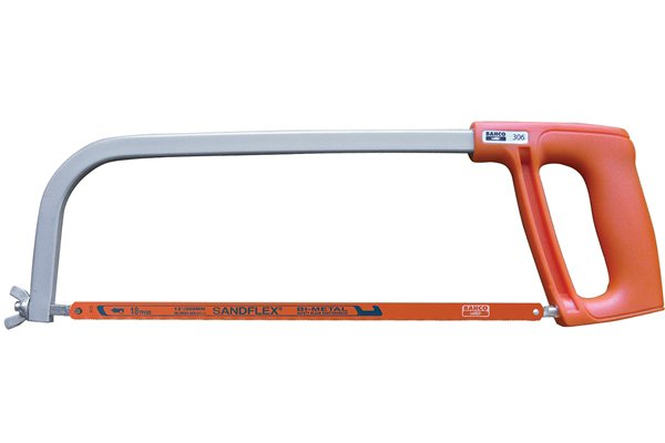 Like a bow saw, a hacksaw has a metal frame and a straight thin blade.