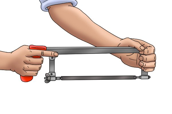 Ideally you should hold the hack saw with both hands.
