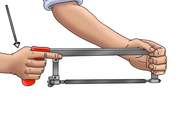 Although you have both hands on the saw, you should only push the saw with your dominant hand