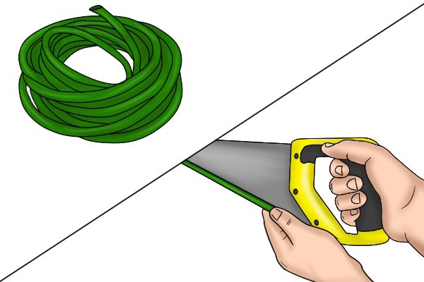 Use hose to protect the saw blade in storage