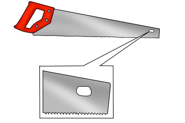 Why do some hand saws have a hole at the end of their blade?