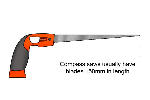 The compass saw has a tapered blade 150 mm in length, ending in a sharp point.