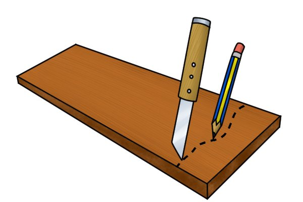Mark and scribe your material with pencil or knife