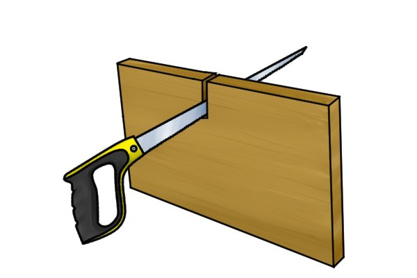 Once the first cut is established, the saw will begin to guide itself