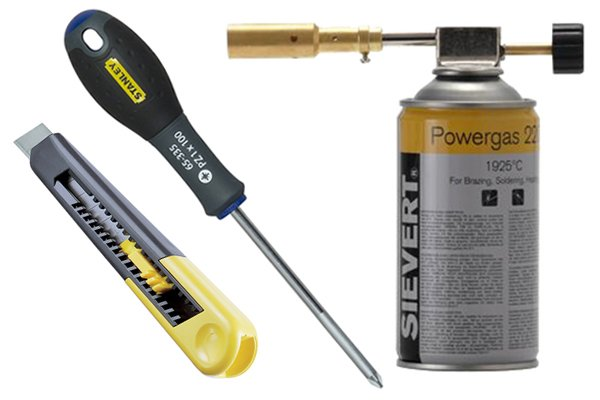 Image of a screwdriver, blowtorch and stanley knife, which will be used for loosening a stubborn immersion heater element