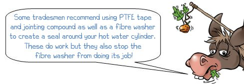 Wonkee Donkee says that even though plumbers can use PTFE tape and jointing compound on an immersion heater element, they are not needed and can make the heater element get stuck in the copper boss in future