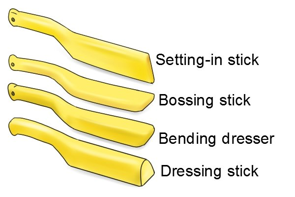 Setting-in stick, bossing stick, bending dresser, dressing stick