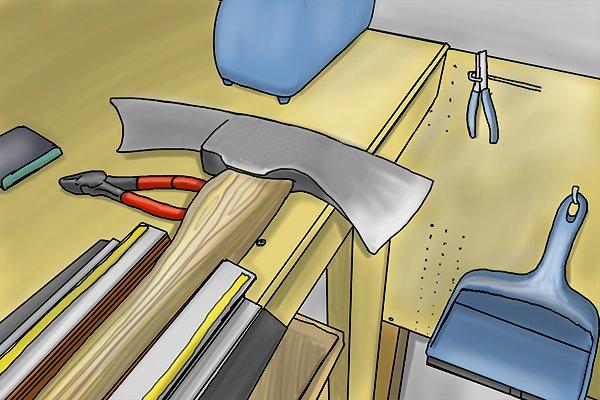 Cutter mattock axe held in a vice