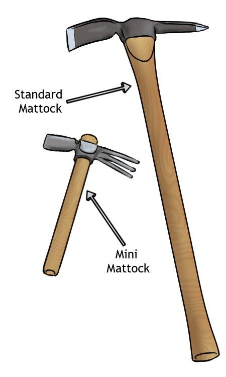 mattock sizes, mini mattock, micro mattock, standard mattock