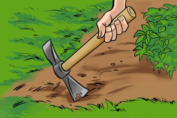 Micro mattock being used around the boarder of a flower bed