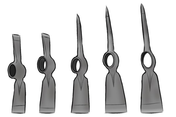 replacement mattock heads, various sizes of mattock heads