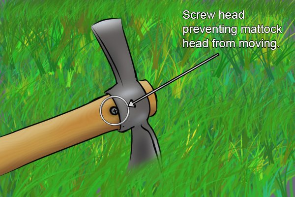 Screw head preventing mattock head from moving