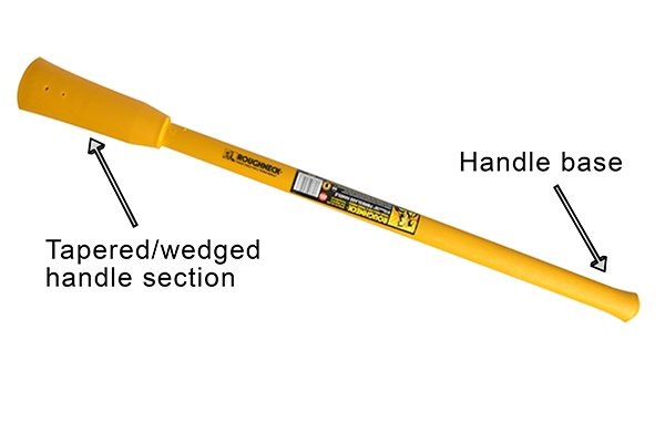 mattock handle, handle base, tapered/wedged handle section