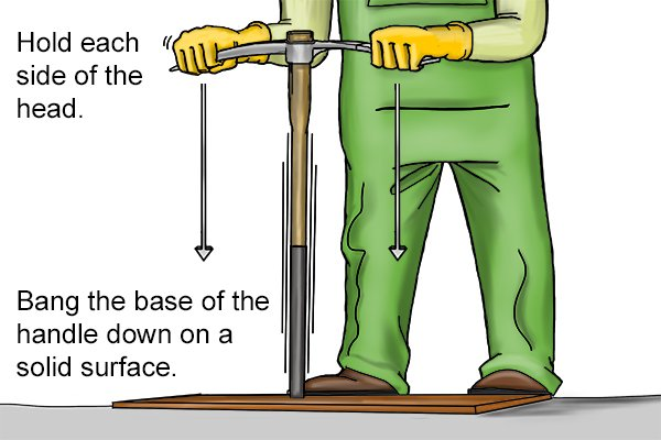 removing a mattock head, hold each side of the head, bang the base of the handle down on a solid surface