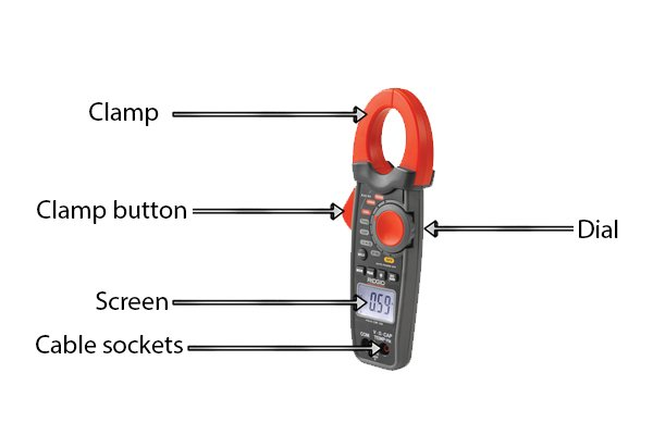 what are the parts of a clamp meter