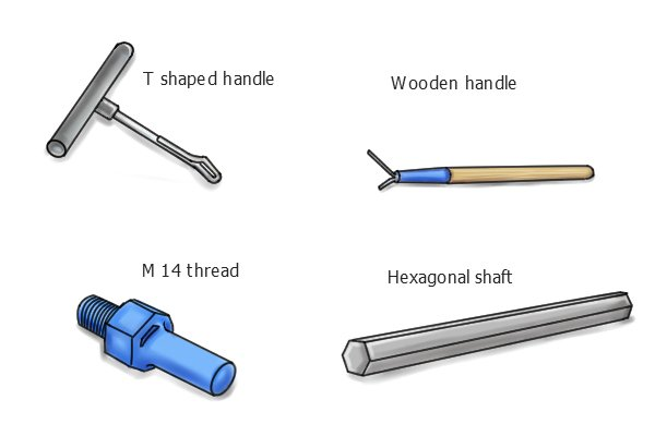 Identifying which mixing paddles are manually operated and which can be used in a power tool depends on the shape of the end: If it's a manual (hand-powered) paddle then it will have a type of handle, either a long wooden one or a 'T' shaped design. Powered paddles will either have a hexagonal shaft to fit standard drills or an M14 thread to fit more powerful mixers.