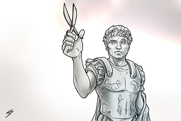 The typical shear design of two blades that cross each other was invented by the Romans