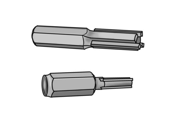 Mortar rakes for drills are fluted. Fluted mortar rakes come in either three or four flutes. The more flutes there are more even the mortar clearance will be.