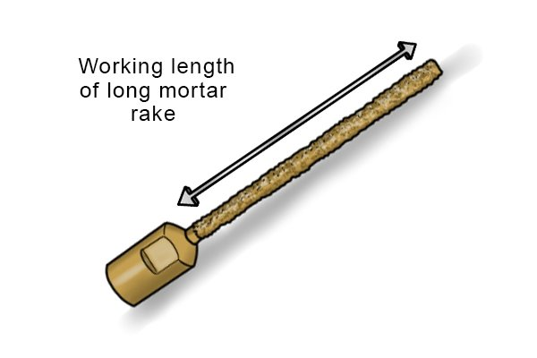 If you want to remove an individual brick then a longer mortar rake will be more useful as the length of the mortar rake will allow you to remove mortar to the depth of the brick without damaging the other surrounding brick faces. Therefore if you were looking to remove an individual brick you would want to buy a mortar rake with a working length of 110-150mm.