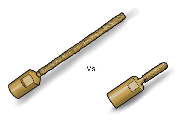 You would not be able to reach the back of the mortar beds with a shorter mortar rake.