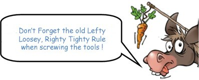 Don't forget the old lefty loosey, righty tighty rule when screwing the tools !