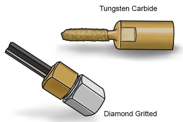Do not store Tungsten Carbide and Diamond mortar rakes together because the gritted diamond mortar rake will scratch the Tungsten Carbide tool.