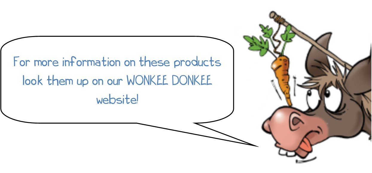 For more information on these products look them up on our WONKEE DONKEE website!
