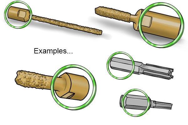 The green circles highlight the shanks on mortar rakes - shanks are the part of the mortar rake that connect to the power tool.