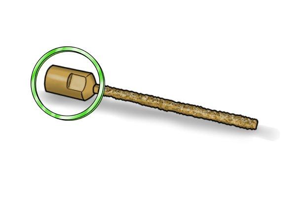 shank with thread inside highlighted on a mortar rake