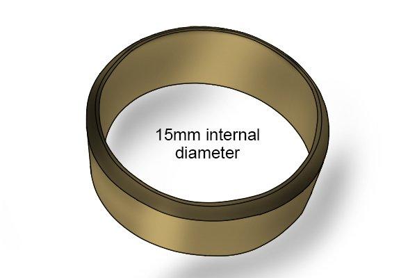 Olive internal measurement, copper olive, plumbing tool